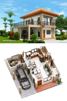 Two storey house with 3 bedrooms with usable floor area of 134 square meters House Outer Design, Small House Interior Design, House Front Design, Simple House Design, Design For Small House, 2 Bedroom House Design, Small House Layout, House Outside Design, 2 Bedroom House Plans