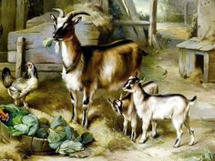 ART~ Goats And Lettuce ~ Edgar Hunt ♥•.¸¸.•´¯`•.♥