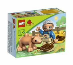 LEGO Duplo Legoville Little Piggy 5643 by LEGO. $9.49. Colorful, sturdy set. A DUPLO brick and a hay fork also included. Contains 4 pieces. First time introduction of Grandpa. Set includes 1 new DUPLO pig with realistic dimensions. From the Manufacturer                It's always a bright, sunny day on the LEGO Farm.  Help Grandpa feed the hungry little piggy with the bale of hay.  This colorful, sturdy set makes working on a farm more fun than ever.                           ...
