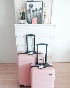 Blush pink luggage