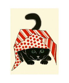Black Cat Art print  4 pour 3 kitty vente noir par matouenpeluche, $6.50