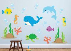Ocean Life Reusable Wall Decals, Fish and Sea Life - Wandgestaltung Kinderzimmer Kids Wall Decals, Wall Stickers, Childrens Wall Decals, Summer Crafts For Toddlers, Ocean Fabric, Ocean Nursery, Nursery Boy, Kids Room Murals, Art Drawings For Kids