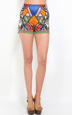 High rised tribal shorts, so colorful and fun! | MakeMeChic.com
