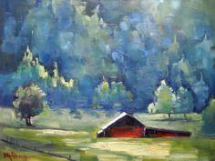 "Mountain Farm by Carol Schiff by Carol Schiff | $250 | 10""w x 8""h | Original Art | http://www.vangoart.co/buy/art/mountain-farm-by-carol-schiff @Vango"