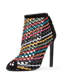 Gucci Caged Multicolor Crisscross Bootie