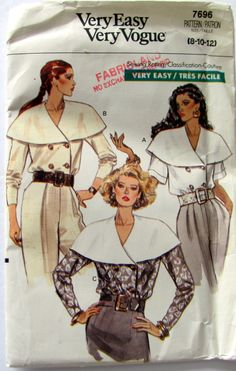 Vogue 7696, Misses Blouse Pattern, Loose Fitting Double Breasted Blouse, Above Elbow Sleeves, Sizes 8, 10 and 12 , Uncut Circa 1990 by OnceUponAnHeirloom on Etsy
