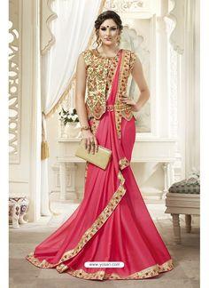 Pink Chiffon Saree With Designer Blouse 121718 Trendy Sarees, Fancy Sarees, Party Wear Sarees, Stylish Sarees, Satin Saree, Chiffon Saree, Saree Draping Styles, Saree Styles, Latest Indian Saree