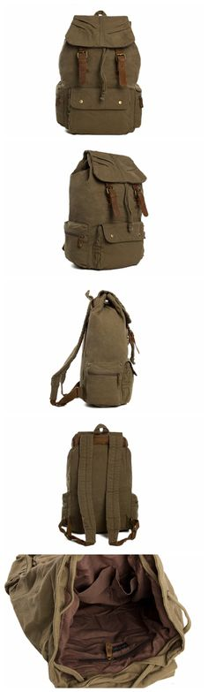 "Army Green Waxed Canvas Backpack, School Backpack, Travel Backpack 1005 Model Number: 1005 Dimensions: 12.6""L x 4.7""W x 18.9""H / 32cm(L) x 12cm(W) x 48cm(H) Weight: 3.3 lb / 1.5kg Hardware: Brass Hard"