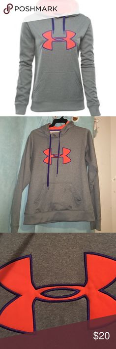 Under armour sweatshirt Used item, good condition though. Neon orange and purple and gray Under Armour Tops Sweatshirts & Hoodies