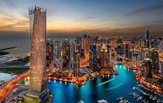 Dubai UAE Prédios Arranha-céus da noite