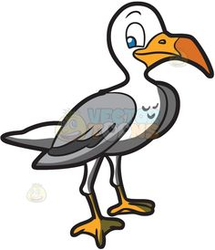 A Seagull :  A bird with white and gray feathers orange beak and feet roaming the sea  The post A Seagull appeared first on VectorToons.com.