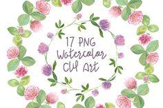 17 Watercolor Clover Clip Art by Tati Bordiu on @creativemarket