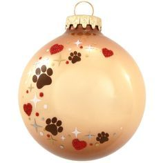 Personalized Pet Paw Print Heart Swirl Glass Ornament