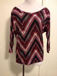Womens Pink & Black Tribal Print Shirt Medium #CharlotteRusse #BasicTee