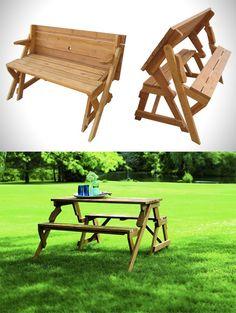 A Garden Bench Turns Into A Picnic Table
