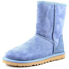 Ugg Australia Classic Short Women Winter Boots ($150) ❤ liked on Polyvore featuring shoes, boots, ankle booties, blue, blue ankle boots, bootie boots, suede heel boots, short ankle booties and cuff ankle boots