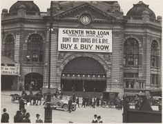 Commonwealth of Australia 7th war loan advertisement over the Swanston Street entrance to Flinders Street Railway Station, Melbourne, 1918 | Flickr - Photo Sharing!