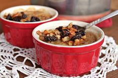 Bruleed Oatmeal with Cherries. What's different about this recipe is broiling the oatmeal briefly after cooking it and sprinkling with sugar. You could easily use raisins or other dried fruit, though the cherries sound very tasty.