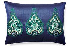 Brea 14x20 Embroidered Pillow, Navy on OneKingsLane.com