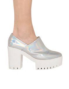 Holographic Platform Shoes $128.00
