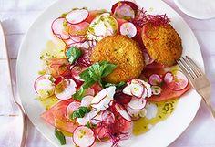 Melonen-Radieschen-Salat mit Kohlrabischnitzeln