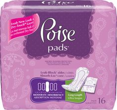 Discreet Incontinence - Poise Pads Moderate Absorbency Long Pads 11""