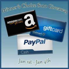 Mission Giveaway - Enter to #WIN $100 in Cash! You choose, Amazon, Walmart or Payapal. MG2013NewYearEvent