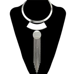 ****SILVER**** Stylish Long Fringe Disc Torques For Women