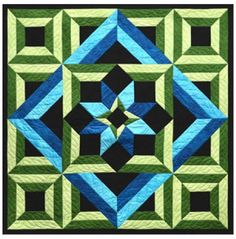 Meditation is a quick quilt to make due to the large sized pieces. Other than the center block all the other blocks are triangle shaped. It uses just 5 different fabrics and you can change the Aqua fa