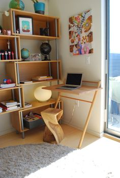 Leaning desk - Neat idea for smaller spaces.
