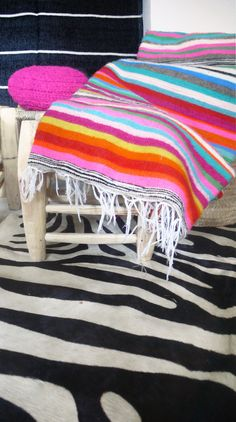 Moroccan Wool Blanket Multicolored Stripes por lacasadecoto