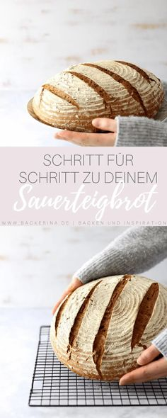 Sauerteigbrot für Anfänger - einfaches Brotrezept   Bäckerina Yeast Bread, Bread Baking, Baking Cakes, Tasty, Yummy Food, No Bake Cake, Cravings, Bakery, Vegan Recipes