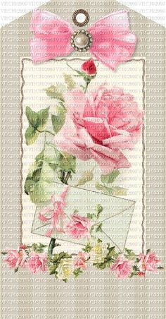 Attic Roses With Letter Neutrals Set Of 4 Tags Gift Tags Printable, Printable Art, Free Printables, Vintage Tags, Vintage Postcards, Decoupage, Gift Wraping, Scrapbook Cards, Scrapbooking