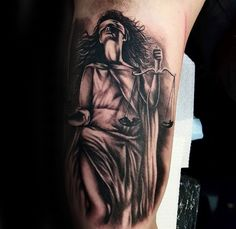 Awesome Lady Justice Guys Inner Arm Bicep Tattoo