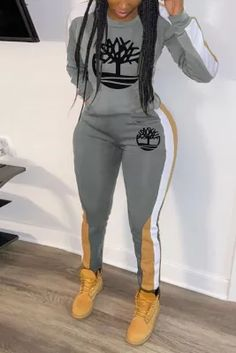 Grey Fashion Stitching Printing Casual Two-piece Set Grey Two Piece, Two Piece Pants Set, Green Fashion, Girl Fashion, Fashion Outfits, Womens Fashion, Cute Swag Outfits, Casual Outfits, Pattern Fashion