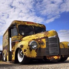 vintage deliver truck ratrod rat rod with original yellow paint rusty and slammed laid out over wide white walls and chrome steelies. Vintage Trucks, Old Trucks, Classic Trucks, Classic Cars, Junkyard Cars, Rusty Cars, Big Muscles, Abandoned Cars, Old Barns