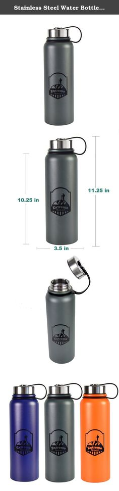 Stainless Steel Water Bottle -- 40 oz Wide Mouth -- Double Walled Vacuum Insulated -- BPA Free (Charcoal, 40 oz). This 40 oz. insulated, stainless steel water bottle is perfect for the athlete or outdoor enthusiast. This insulated water bottle will keep your liquids warm for up to 12 hours and cold for up to 24 hours. This water bottle is manufactured to the highest quality. It is durable and made with a stainless steel lid. The stainless steel is made from the highest quality 18/8 grade...