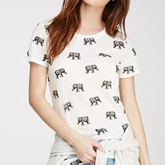 cute elephant crop top black and white elephant crop top, fits like a large. new without tags. willing to trade (: Forever 21 Tops Crop Tops