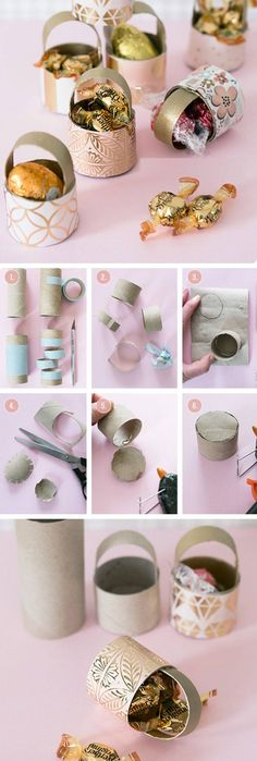 Toilet Roll Mini Baskets | Click Pic for 20 DIY Easter Basket Ideas for Kids to Make | Easy Easter Crafts for Kids to Make
