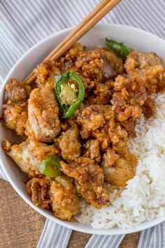 Crispy Hawaiian Garlic Chicken with Rice in bowl