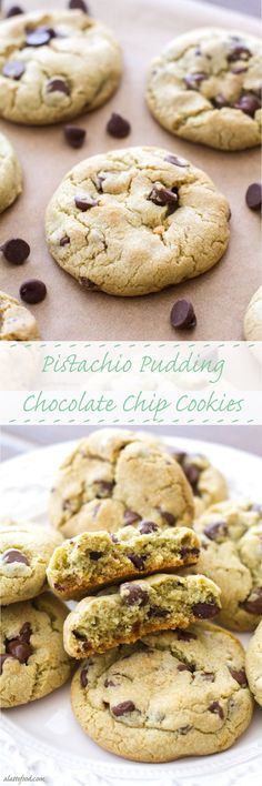 Pistachio Pudding Chocolate Chip Cookies | A Latte Food