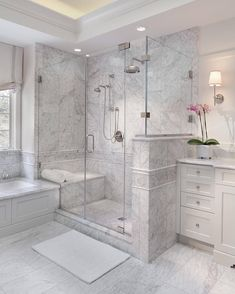 Enchanting luxurious master bathroom home decorating tips for baths and small bathroom. Mansion master bathroom to inspire your dream cutting-edge, romantic, and elegant decor for the dream spa luxury bathroom. Zen master bathroom with a jacuzzi and steam Bad Inspiration, Bathroom Inspiration, Master Bath Remodel, Remodel Bathroom, Restroom Remodel, Bathroom Remodeling, Remodeling Ideas, Bathroom Makeovers, Closet Makeovers
