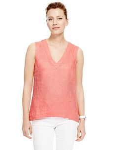 Pure Linen V-Neck Easy to Iron Shell Top | M&S
