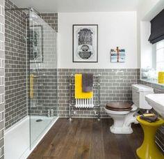 Black and yellow bathroom decor stylish gray grey bathrooms yell . trendy and refreshing gray yellow bathrooms Bad Inspiration, Bathroom Inspiration, Bathroom Interior, Modern Bathroom, Bathroom Grey, Bathroom Furniture, Master Bathroom, Earthy Bathroom, Charcoal Bathroom