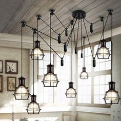 Loft style multi head work lamp chandelier