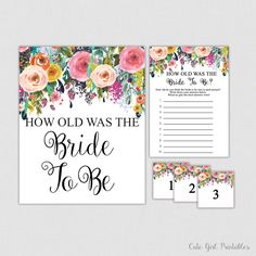 How Old Was the Bride To Be Game - Printable Floral Bridal Shower Game - Guess the Brides Age - How Old Was She White - 0001W  Printable