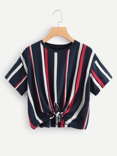 Shop Striped Cut Out Knot Tee at ROMWE, discover more fashion styles online. Classy Outfits, Cool Outfits, Casual Outfits, Fashion Outfits, Womens Fashion, Fall Fashion, Striped Fabrics, Blouse Styles, Cool T Shirts