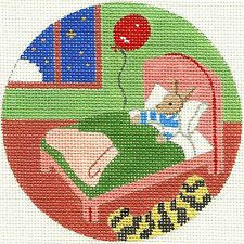NEEDLEPOINT HANDPAINTED Canvas GOODNIGHT MOON Ornament BUNNY in Bed