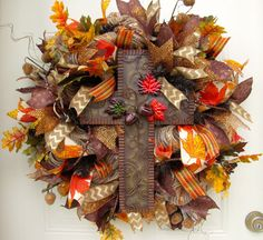 Deluxe CrossFall Brown Orange Burlap Autumn by NicoleDCreations