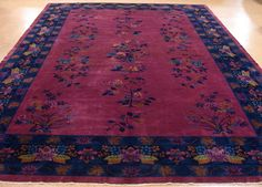 12 x 17 Antique CHINESE ART DECO Hand Knotted Wool PLUM RED NAVY Oriental Rug #ChineseArtDeco